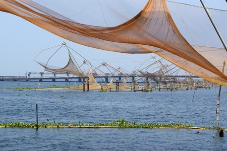 chinese fishing nets: Chinese fishing nets. Vembanad Lake, Kerala, South India