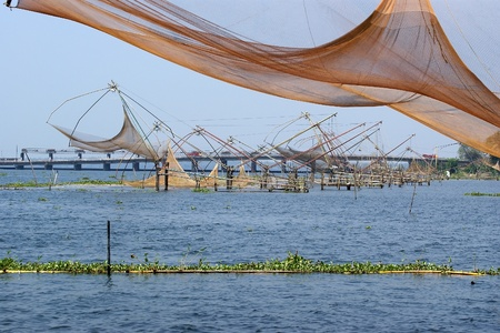 Chinese fishing nets. Vembanad Lake, Kerala, South India photo