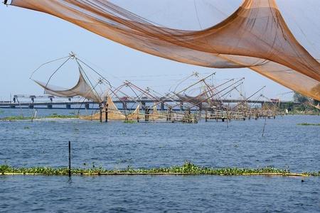 Chinese fishing nets. Vembanad Lake, Kerala, South India Stock Photo - 11340800