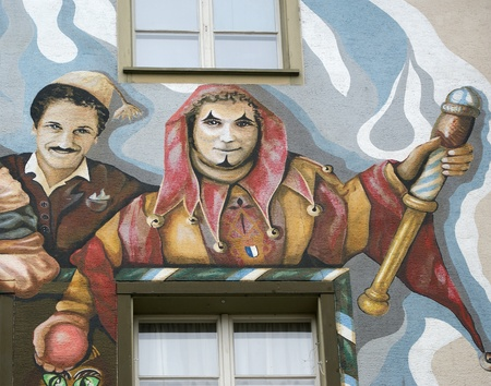murals: Lucerne, Switzerland, the facade of the house with murals (or graffiti) in the old town