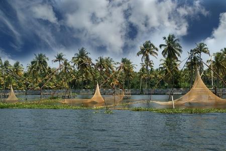 Chinese fishing nets. Vembanad Lake, Kerala, South India