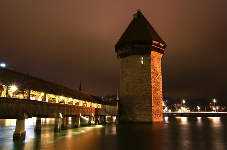 Lucerne, Switzerland, city view at night photo