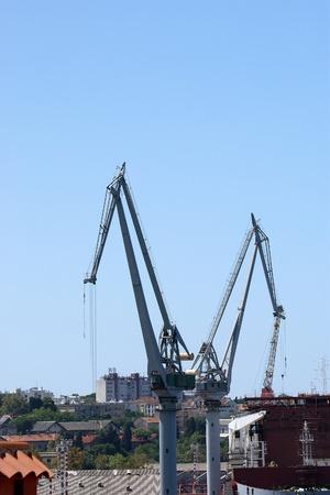 Marine cargo port. Cranes. Pula, Croatia photo