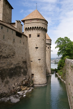 leman: Switzerland - Chateau de Chillon on the lake Leman near Montreux