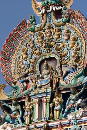tamil nadu: Meenakshi hindu temple in Madurai, Tamil Nadu, South India. Sculptures on Hindu temple gopura (tower). It is a twin temple, one of which is dedicated to Meenakshi, and the other to Lord Sundareswarar