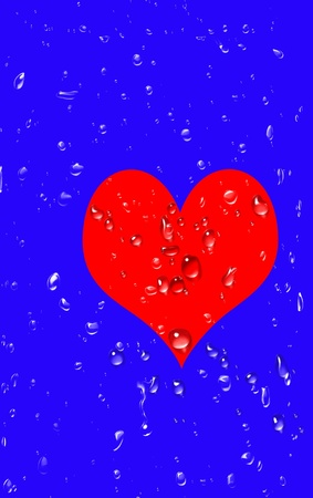 unrequited love: Unrequited love, a big red heart with drops of tears Stock Photo