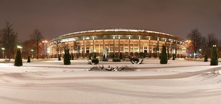 Night panorama of the Grand Sports Arena Luzhniki Olympic Complex in the winter, Moscow, Russia