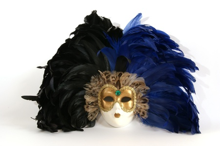 Traditional Venetian (Italian) carnival mask with feathers photo