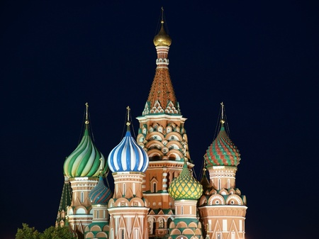 Moscow at night, Russia, Red Square, Cathedral of Intercession of Most Holy Theotokos on the Moat ( Temple of Basil the Blessed) photo