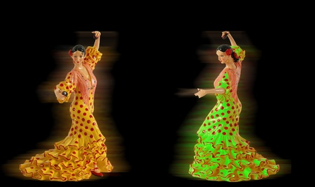 spanish ethnicity: figure of Spanish flamenco dancers