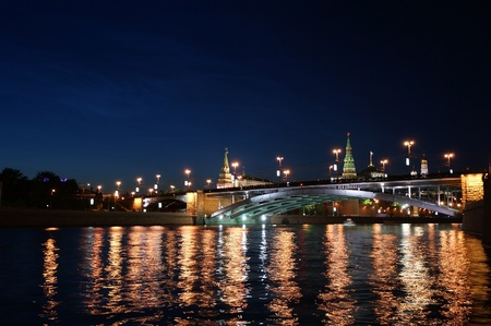 Russia, Moscow, night view of the Moskva River, the Great Stone Bridge and the Kremlin photo