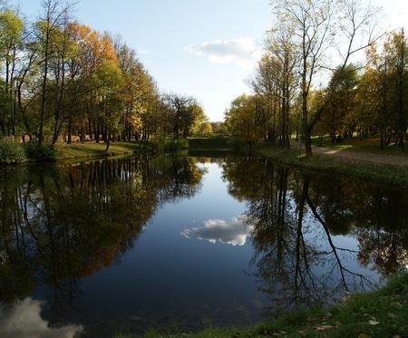 vorontsov: autumn landscape with a pond, Vorontsov Park, Moscow, Russia Stock Photo