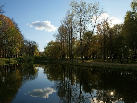 autumn landscape with a pond, Vorontsov Park, Moscow, Russia photo
