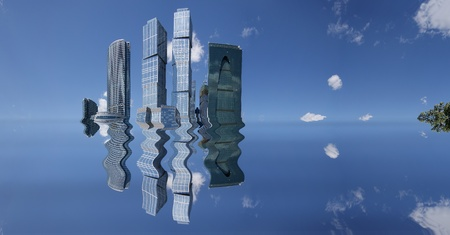Panorama of skyscrapers in the background of the blue cloudless sky with reflection in the blue water photo