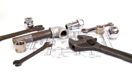 Plumbing parts and tools for drawing, closeup Stock Photo