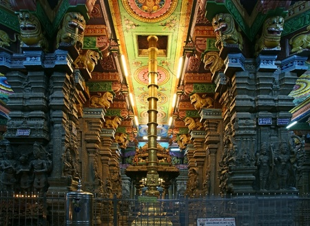 Inside of Meenakshi hindu temple in Madurai, Tamil Nadu, South India.  It is a twin temple, one of which is dedicated to Meenakshi, and the other to Lord Sundareswarar