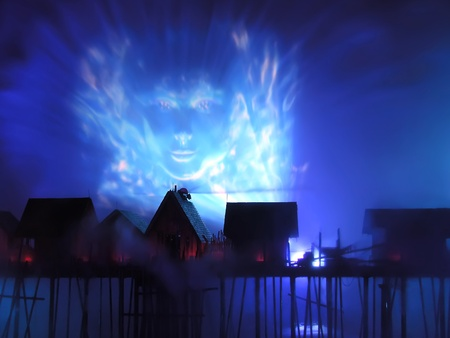 island Sentosa, Singapore, Laser show of dancing fountains