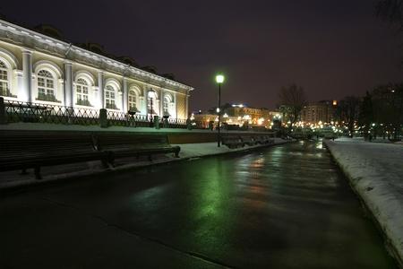 Alexander Garden winters night, Moscow, Russia