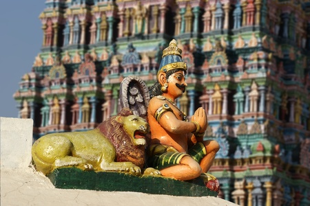 Traditional statues of gods and goddesses in the Hindu temple, south India, Kerala