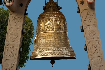bell bronze bell: India, Delhi, the big religious copper bell in the Induistsky temple complex