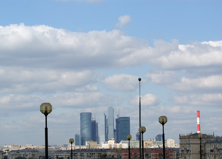 General view of the city of Moscow (international business centre) from a viewing platform near the building of Presidium of Russian Academy of Sciences photo