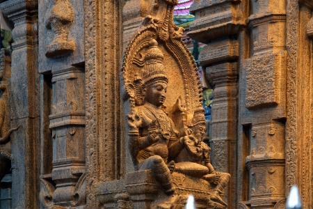 vishnu: The traditional Hindu religion sculpture. Inside of Meenakshi hindu temple in Madurai, Tamil Nadu, South India.