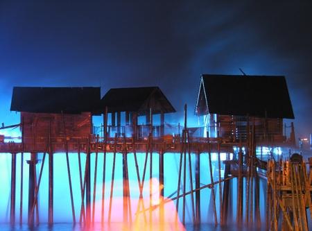 Island SENTOSA, Singapore, Laser show of dancing fountains  Stock Photo - 11331004