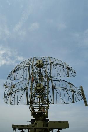 radar gun: military mobile radar station against the blue sky, Russia