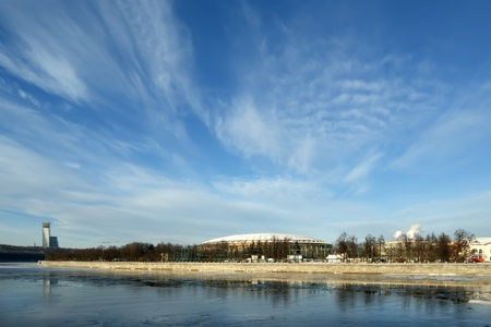 Moscow River and big sports arena of the Olympic Complex Luzhniki on a clear winter day. Moscow, Russia photo