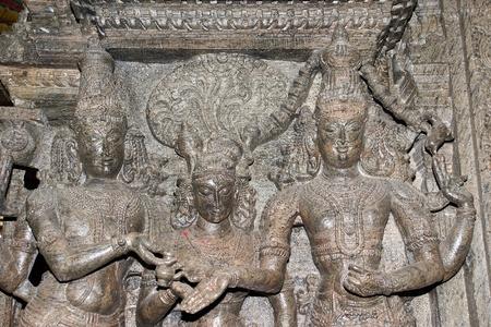 The traditional Hindu religion sculpture. Inside of Meenakshi hindu temple in Madurai, Tamil Nadu, South India. photo