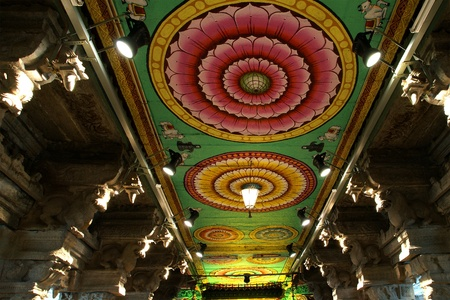 Inside of Meenakshi hindu temple in Madurai, Tamil Nadu, South India. Religious hall of thousands of columns