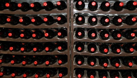 Wine Cellar, Bottles of wine in storage Stock Photo