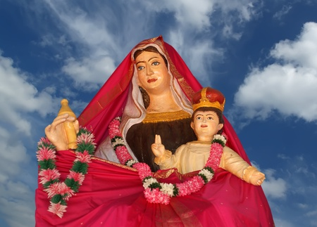 kochi: Madonna with baby. Catholic pilgrimage center. DIVINE MERCY CENTRE. Kochi, Kerala, South India Stock Photo
