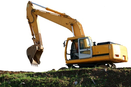Heavy buildind excavator in front of building site , Moscow, Russia photo