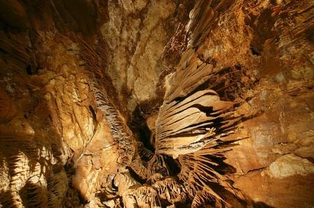stalagmites: stalactites and stalagmites in a cave Beredine, Croatia
