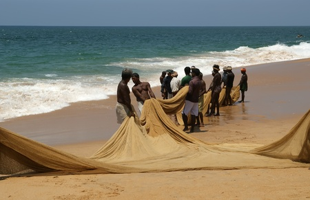 kovalam: Kovalam, Kerala, South India.  Fishermen are pulling their fishing net in combined work out of the sea