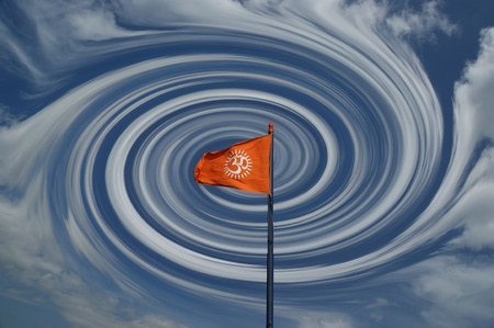 Flag with a sign Om or Aum --is a sacred, mystical syllable in the Dharma or Indian religions, i.e. Hinduism, Jainism, and Buddhism photo