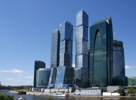 the center of the city: Rascacielos del Centro Internacional de Negocios (Ciudad), Mosc�, Rusia Editorial