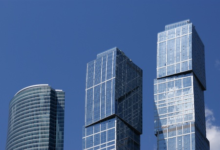 Skyscrapers of the International Business Center (City) closeup, Moscow, Russia