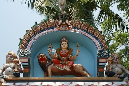 Traditional statues of gods and goddesses in the Hindu temple, south India, Kerala photo
