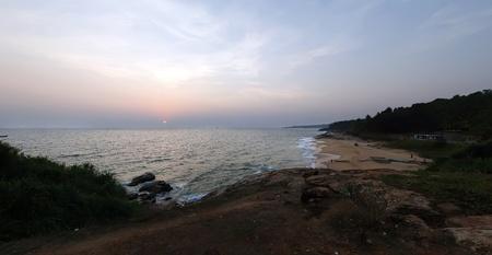 kovalam: sunset. Ocean coast (panorama), Kovalam, Kerala, South India