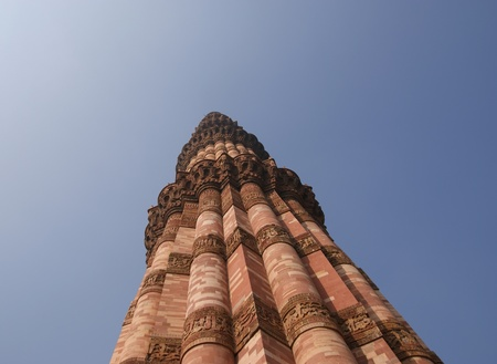 quitab: It is a 73 m tall victory tower the construction of which was started by qutab-ud-din-aibak in 1193 and completed by his successories. Stock Photo