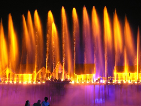 Island SENTOSA, Singapore, Laser show of dancing fountains  Stock Photo - 11334552
