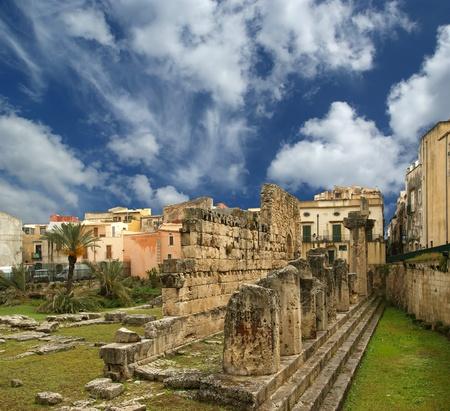 Ancient Greek APOLLOS TEMPLE . Syracuse (Siracusa, Sarausa)-- historic city in Sicily, Italy