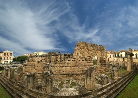 Panorama of of the ancient Greek temple of Apollo. Syracuse (Siracusa, Sarausa) - a historic city in Sicily, Italy photo