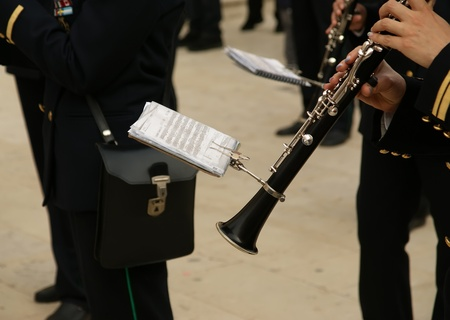Marching military band at the parade. Clarinet Stock Photo - 12228647