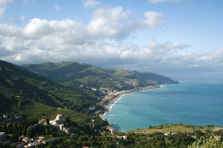 Panoramic landscape of the Mediterranean Sea with aerial view. Sicily. Italy photo
