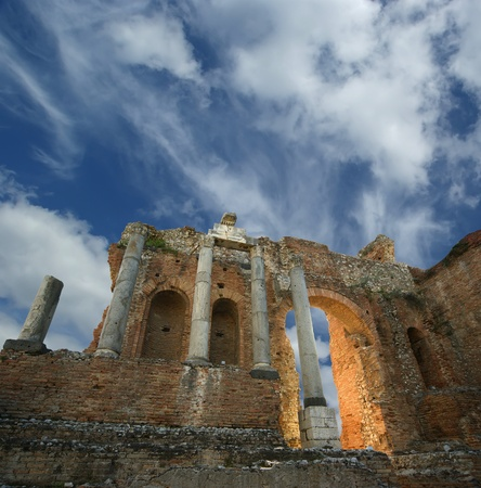 The Ancient theatre of Taormina is an ancient greek theatre, in Taormina, southern Italy, built early in the seventh century BC photo