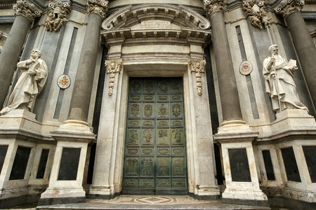 catania: Catholic church of Catania. Sicily, southern Italy. Baroque architecture.  Stock Photo