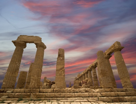 Ancient Greek Temple of Juno (V-VI century BC), Valley of the Temples, Agrigento, Sicily. The area was included in the Heritage Site list in 1997